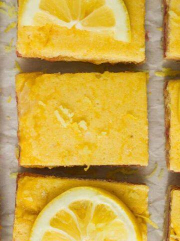 keto raspberry lemon bar squares