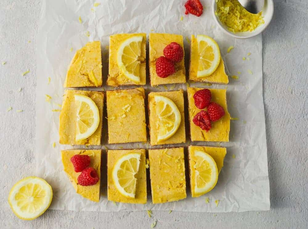 overhead of finished keto raspberry lemon bars
