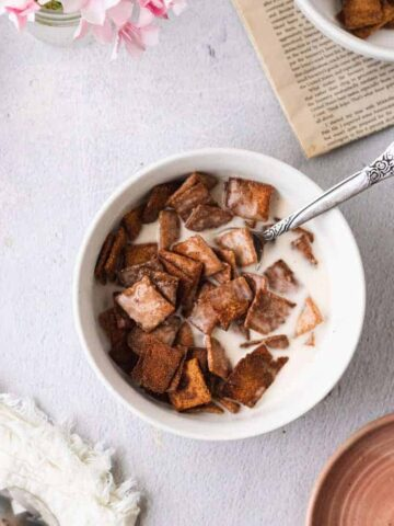 keto cinnamon toast crunch cereal in a bowl with macadamia milk