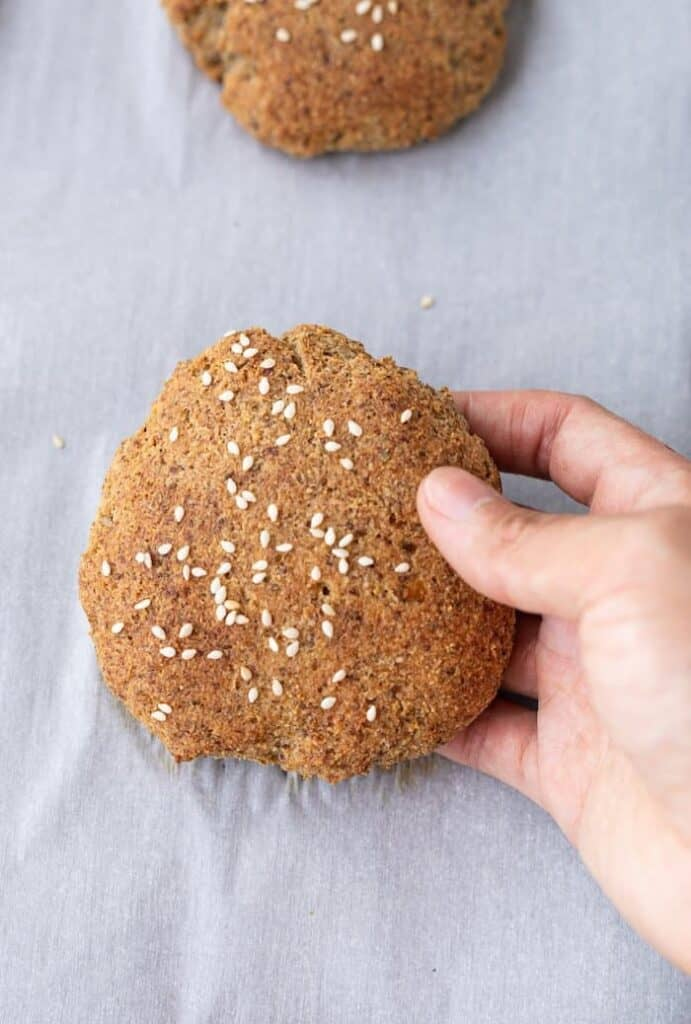 closeup of low-carb hamburger bun