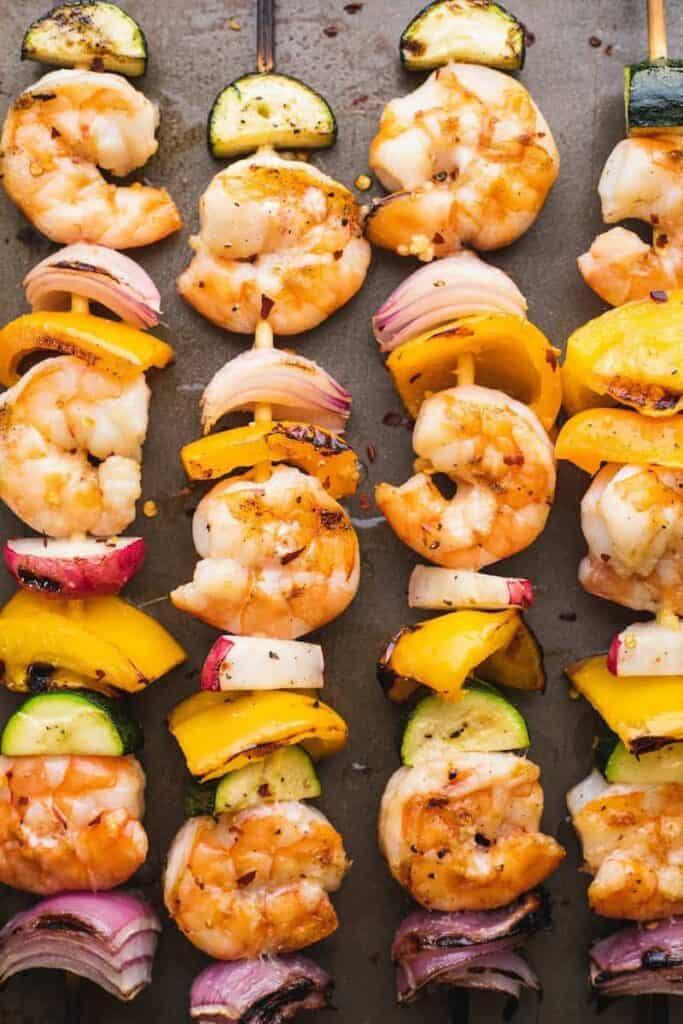 grilled shrimp skewers on sticks