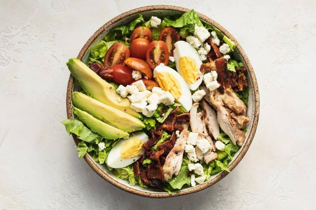 keto Cobb salad in a bowl without dressing