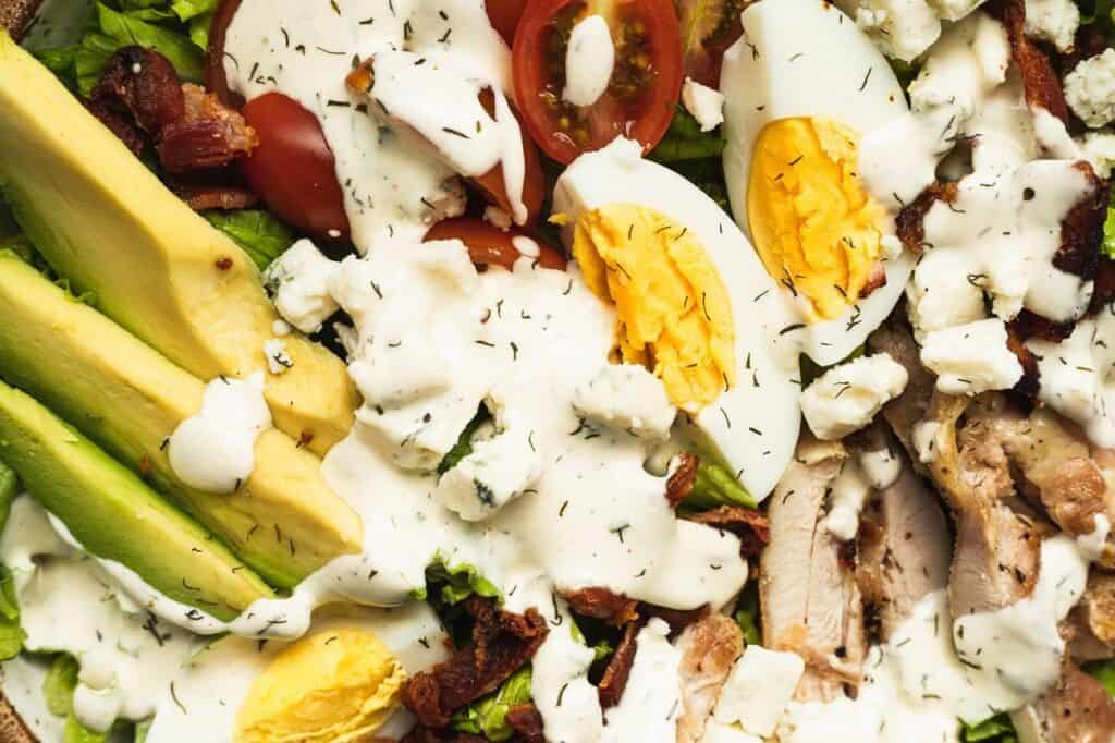 closeup of keto Cobb salad