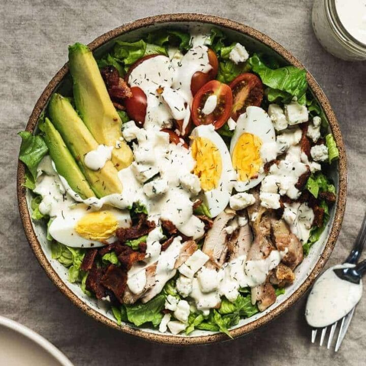 keto Cobb salad in a bowl with ranch dressing