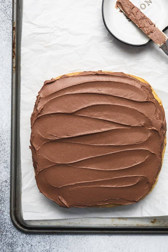 shot of keto chocolate frosting swirls on cake