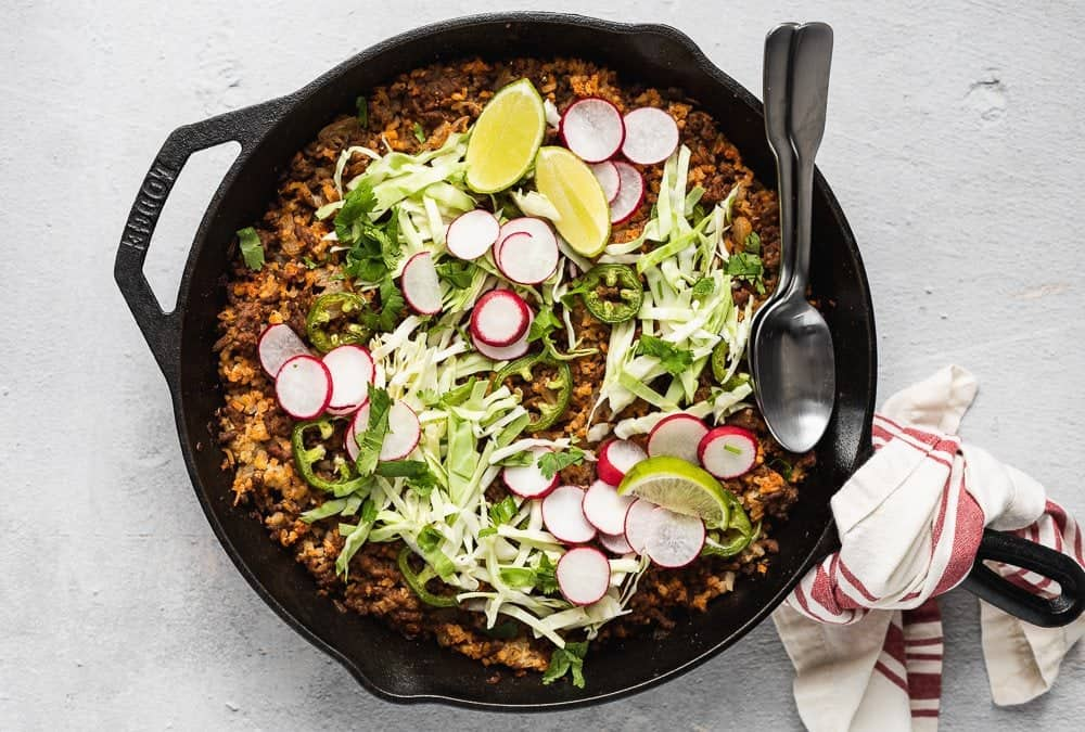 baked keto taco casserole with cabbage and radishes