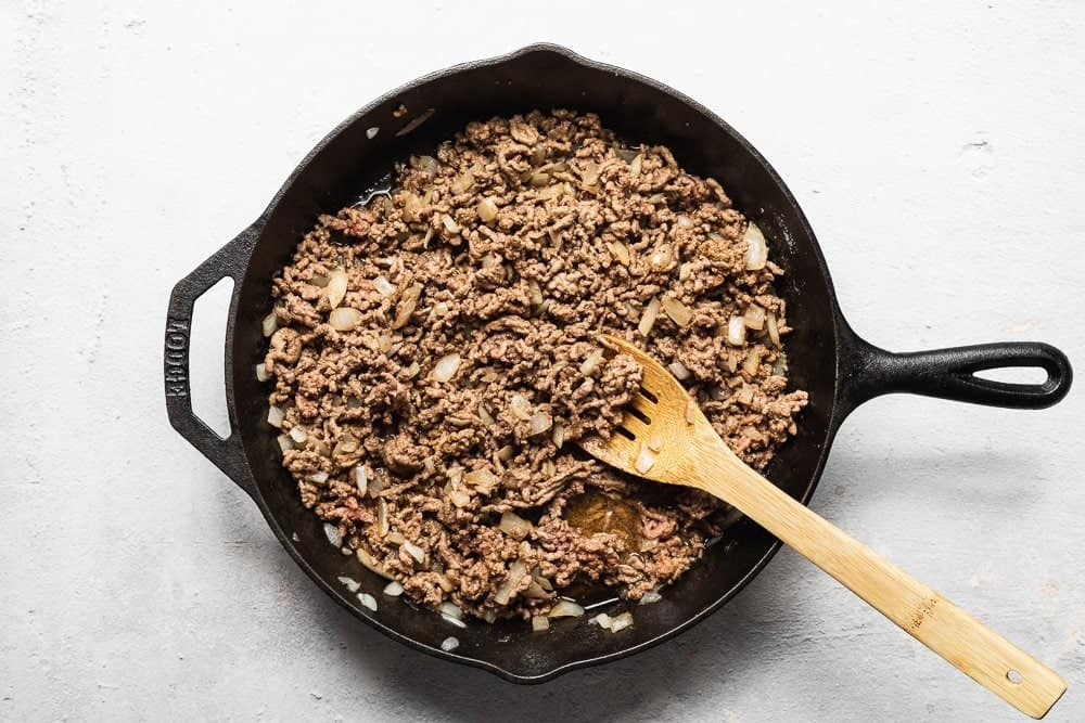 ground beef for keto taco casserole in a skillet