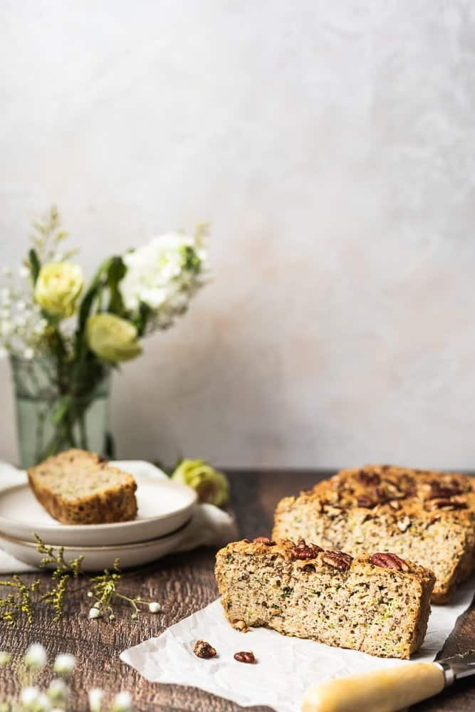 keto zucchini bread sliced with flowers