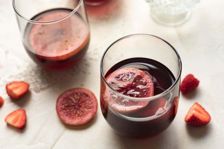 glass of keto sangria with fruit