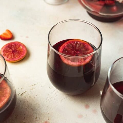 low-carb red sangria in a wine glass
