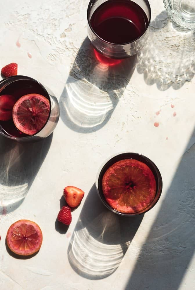 overhead shot of three glasses of low-carb red sangria