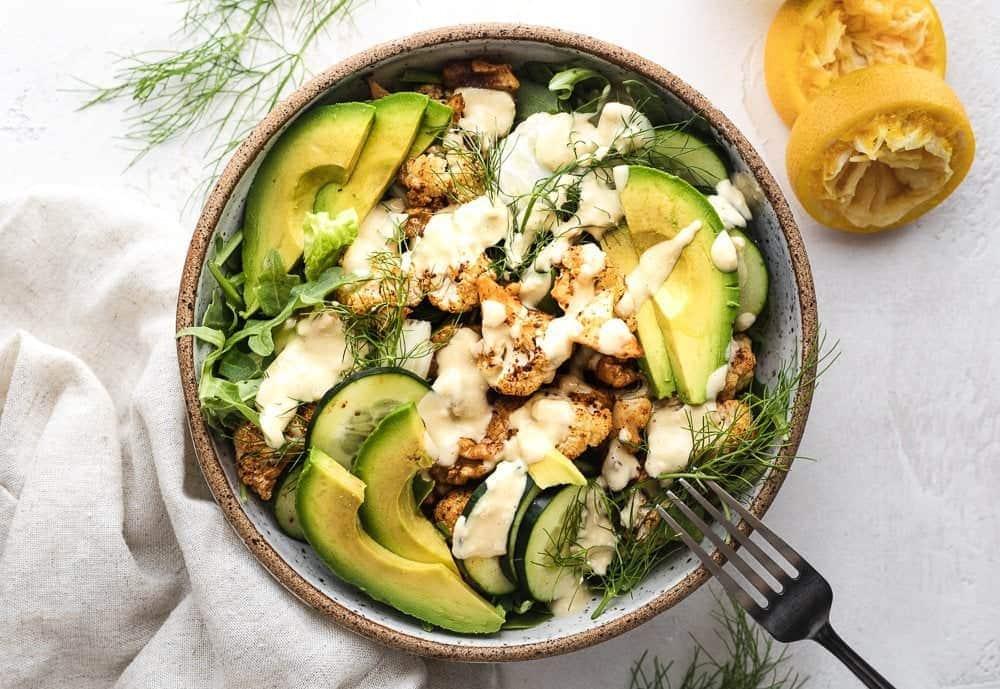 roasted cauliflower salad  citrus tahini dressing keto  glutenfree  stem  spoon