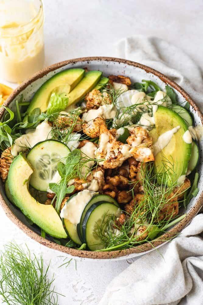 roasted cauliflower salad with citrus tahini dressing