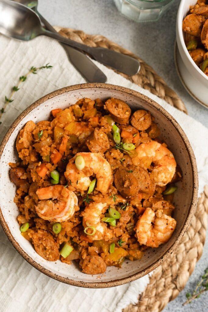 keto jambalaya in a serving bowl