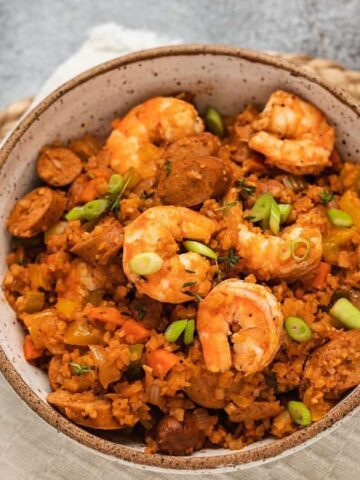 keto jambalaya in a bowl with spoons