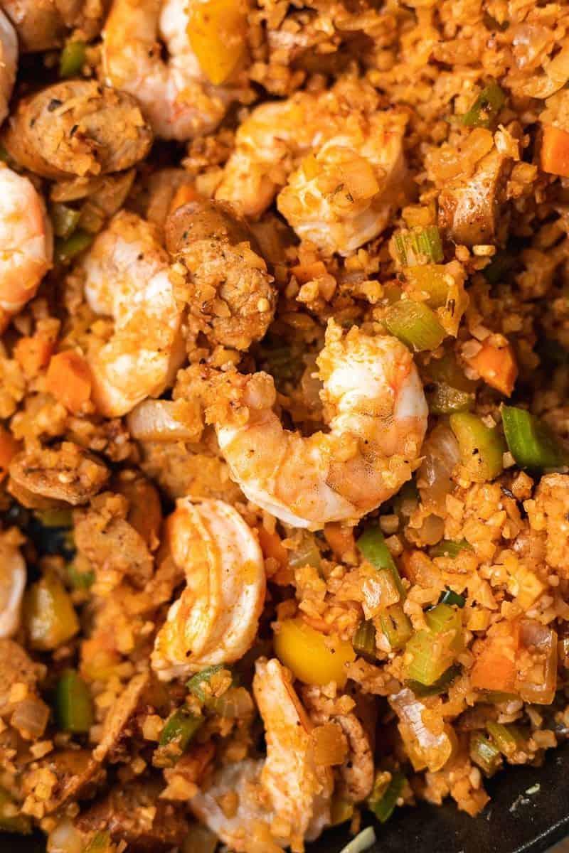 closeup of shrimp in keto jambalaya