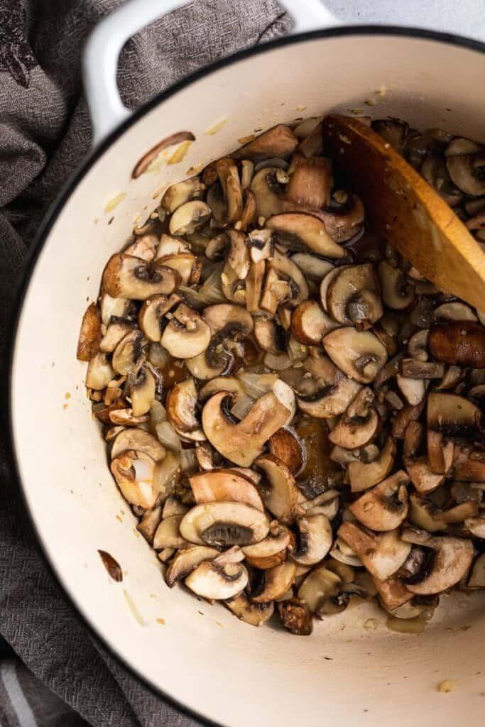mushrooms sauteed in pot