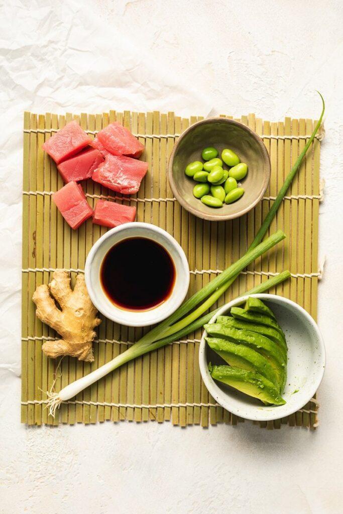 ingredients to make keto poke bowl