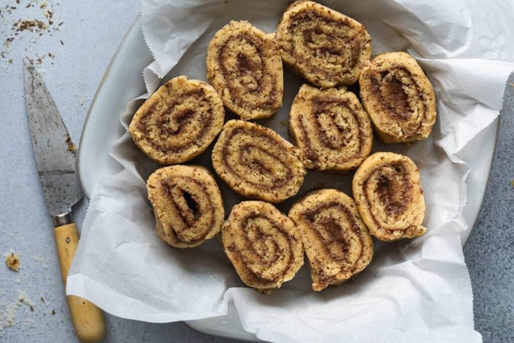 keto cinnamon rolls in a pan before baking