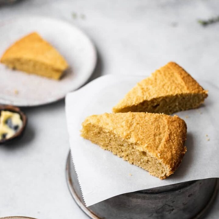 three slices of keto cornbread