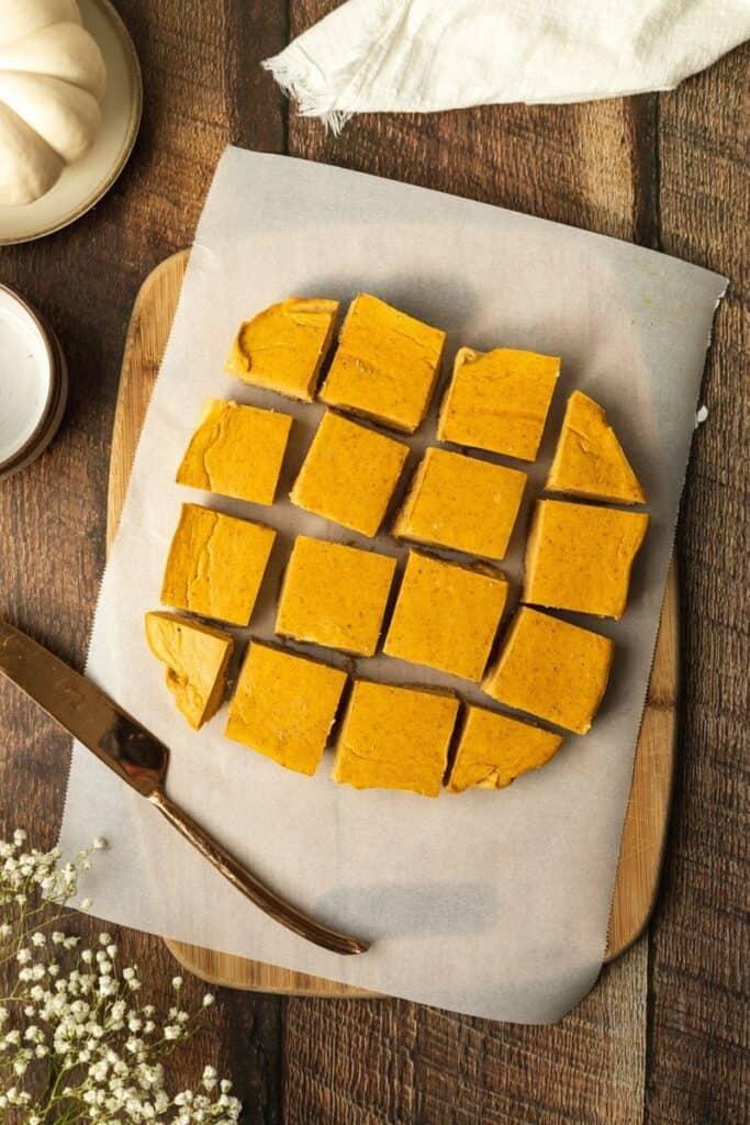 overhead of keto pumpkin cheesecake bars