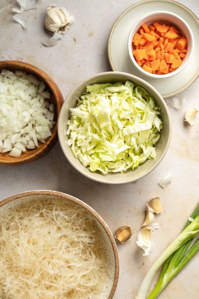 ingredients for low-carb pancit