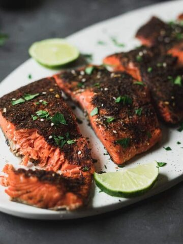 air fryer salmon pieces on a platter