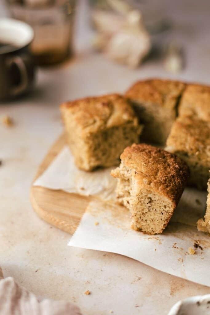closeup shot of keto banana bread square