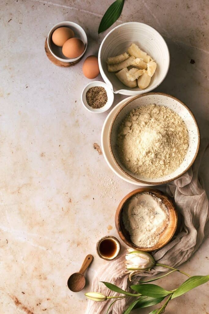 ingredients for low-carb banana bread recipe arranged in flatlay
