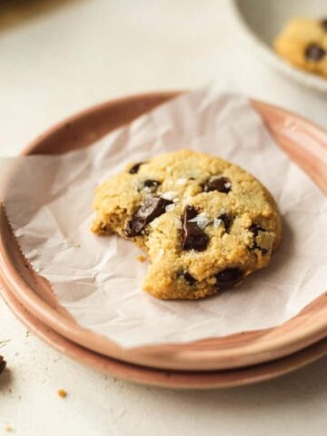 keto chocolate chip cookie on a pink plate