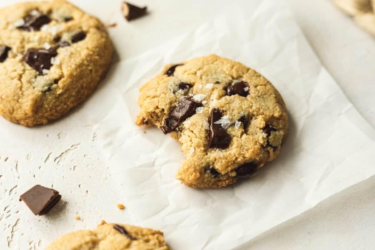 closeup of keto chocolate chip cookies with sea salt