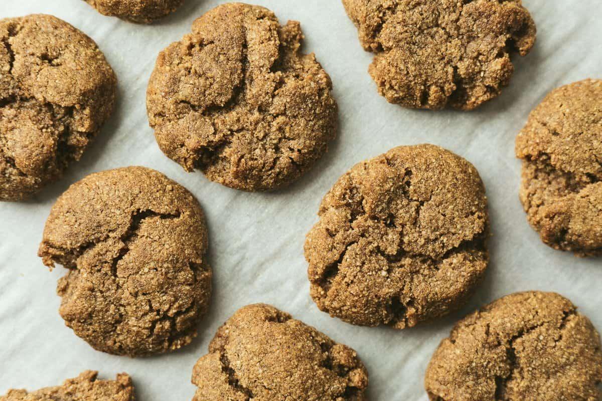 overhead shot of keto gingerbread cookies on baking sheet