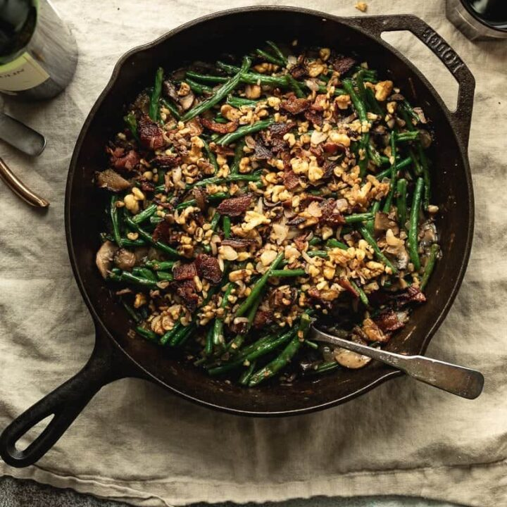 keto green bean casserole served in cast iron skillet