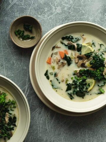 low-carb chicken soup in serving bowls