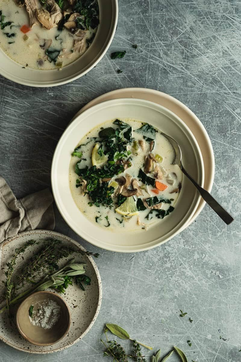 keto chicken soup in serving bowls