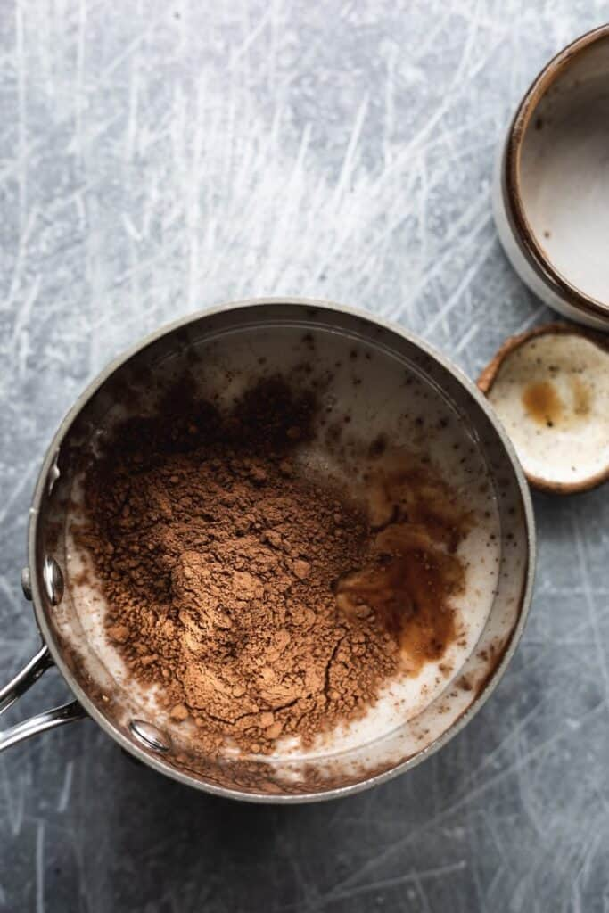 ingredients in pan for keto hot cocoa