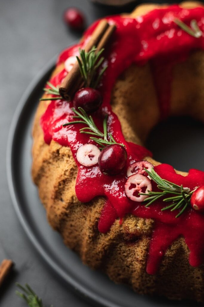 closeup of glaze and decor on Bundt cake