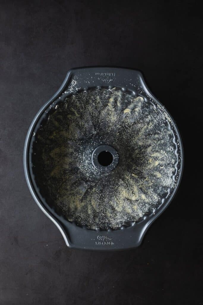 greased and floured bundt cake pan