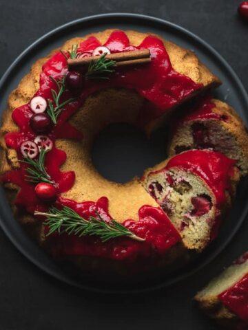 cranberry Bundt cake on serving tray