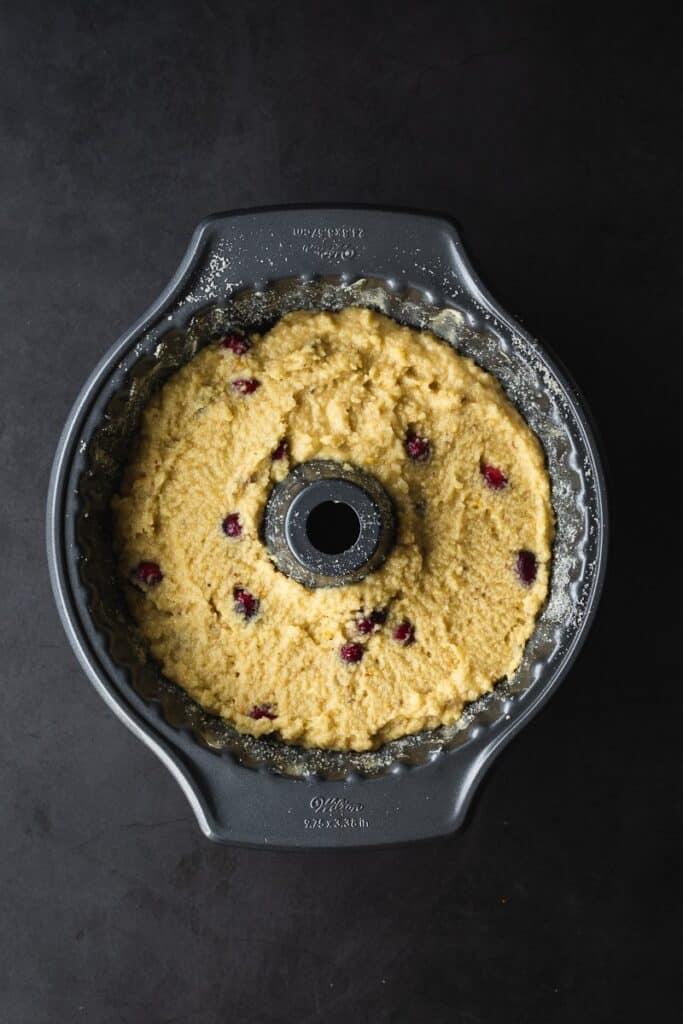 almond flour cake batter in Bundt cake pan