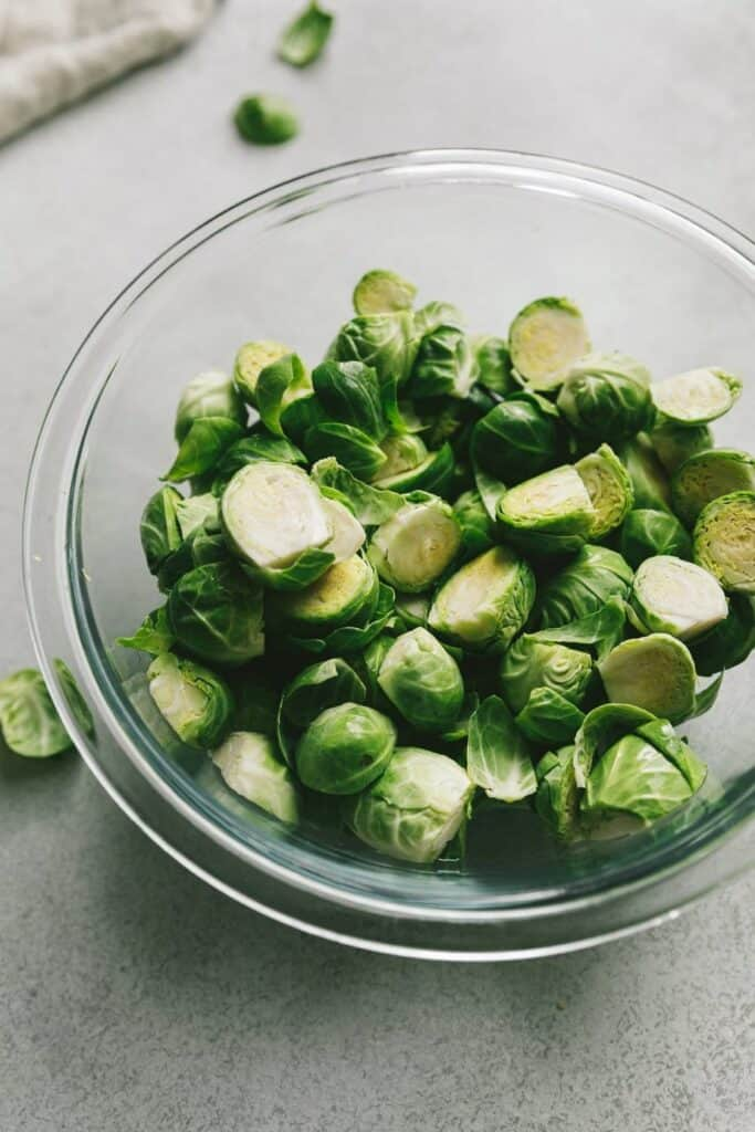 raw Brussels sprouts in a bowl