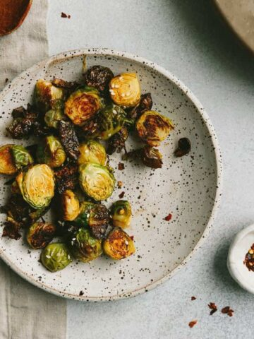 overhead of roasted Brussels sprouts