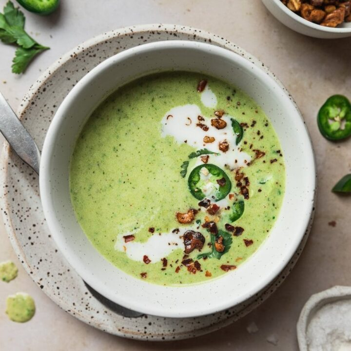 keto broccoli soup with jalapeño {vegan + gluten-free}