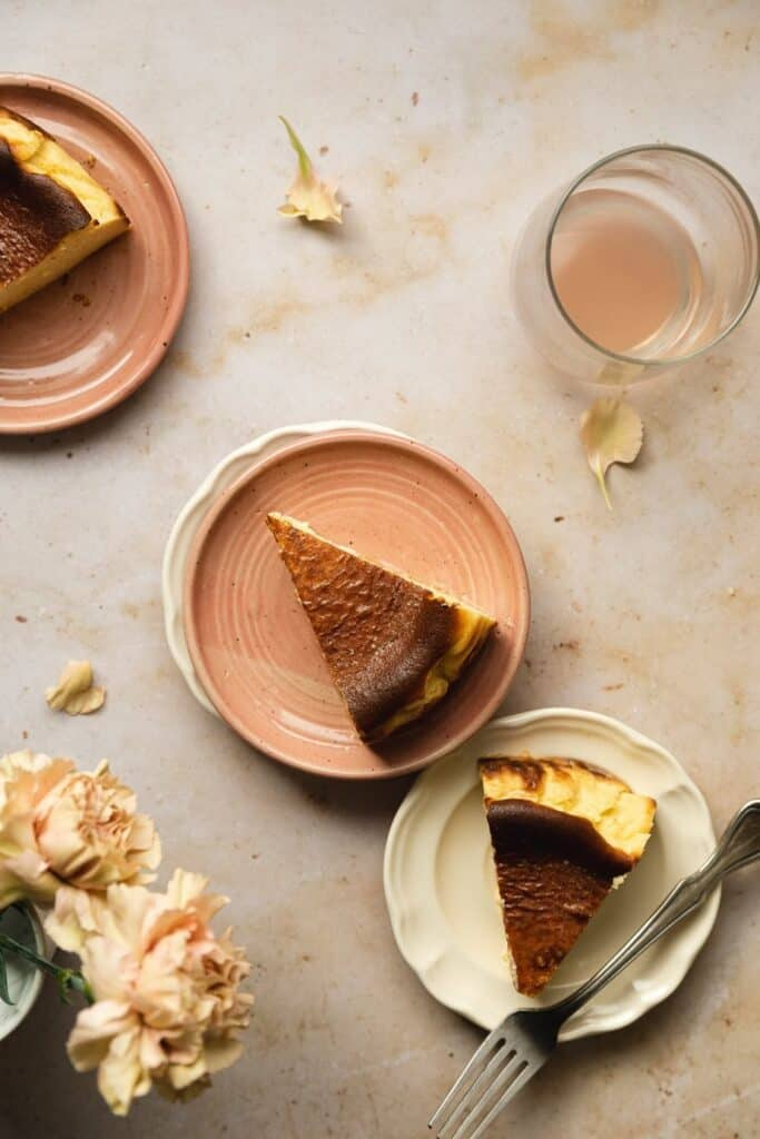overhead of three slices of keto cheesecake