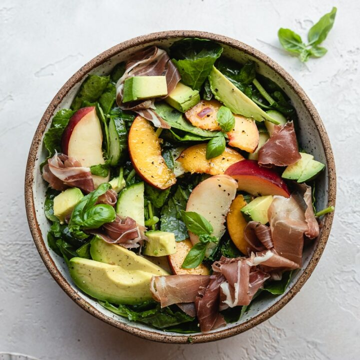 summer peach salad prepared