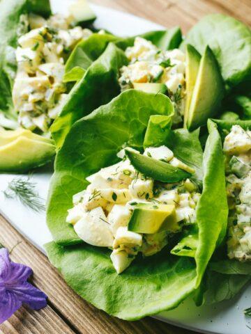 keto egg salad on butter lettuce