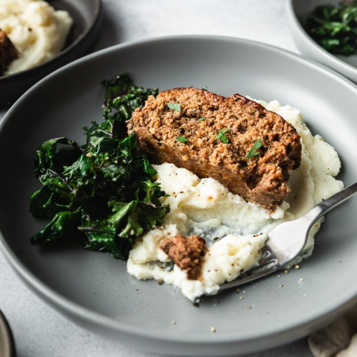 keto meatloaf with cauliflower mash and sauteed kale