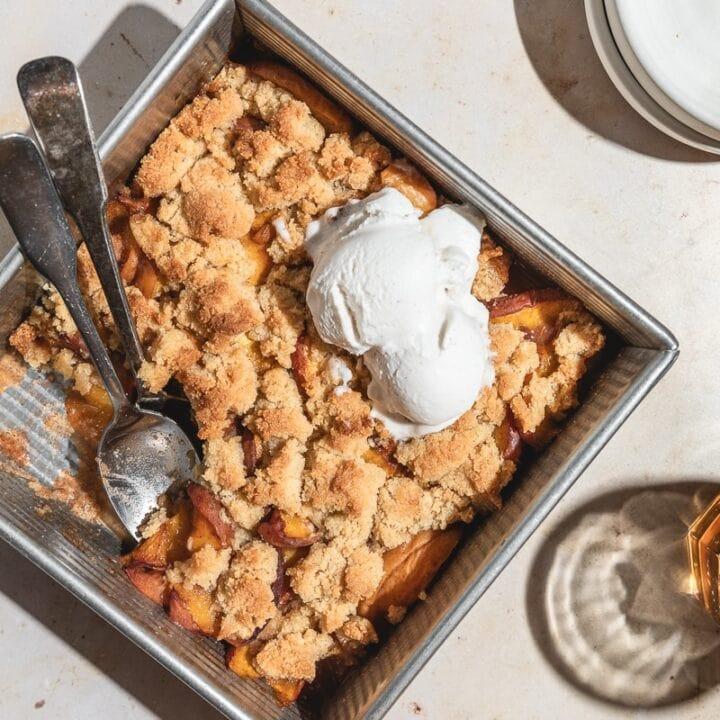 keto peach cobbler (gluten-free, vegan option)