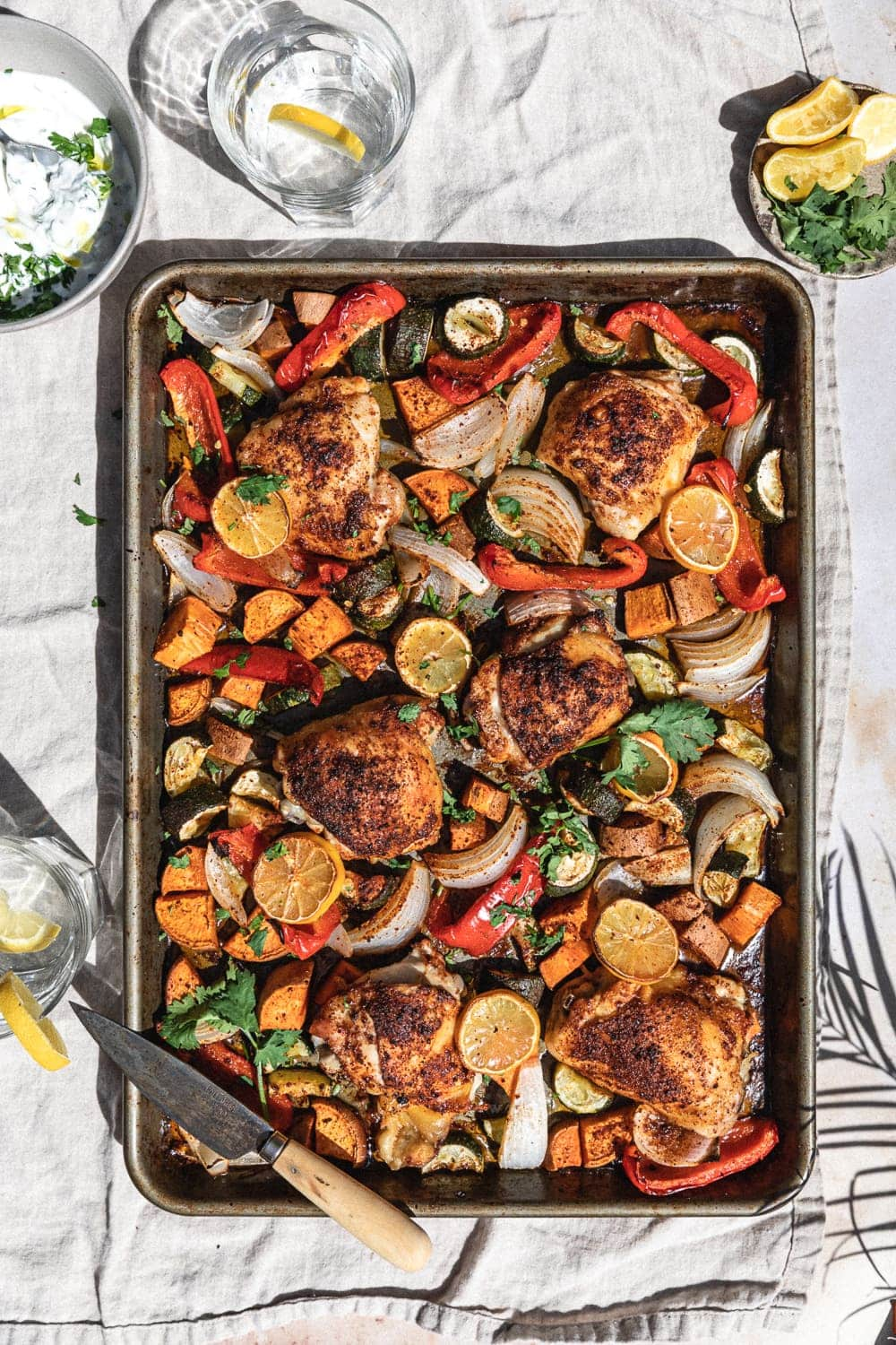 harissa chicken on sheet pan with roasted vegetables for keto chicken thigh recipes