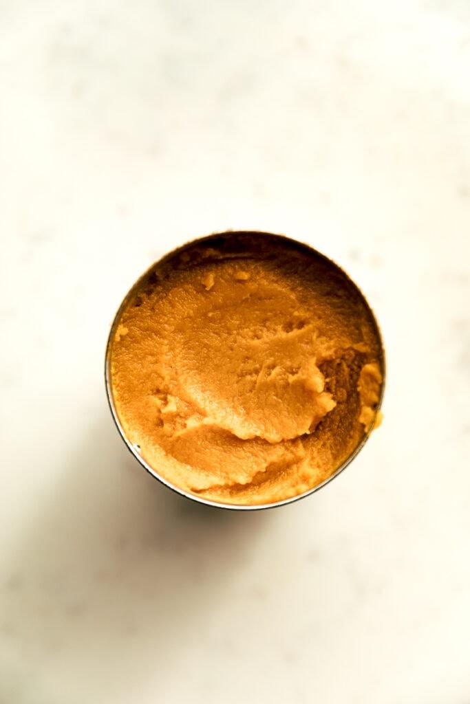 can of pumpkin puree for healthy pumpkin bread recipe